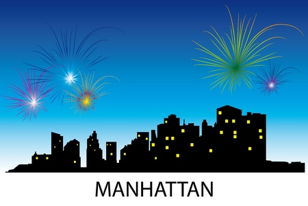 Fireworks over the night Manhattan. Vector