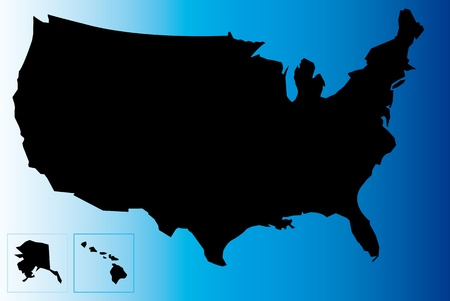 Black map of USA with blue background. Stock Illustratie