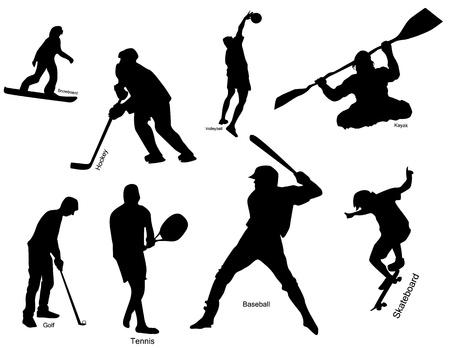 kayak: Silhouet van sporters in verschillende soorten van sport met beschrijvingen. Stock Illustratie