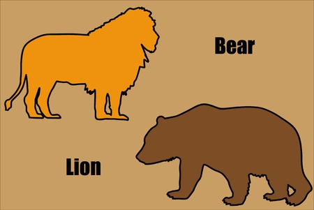 Illustration of bear and lion. Vector