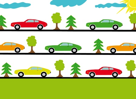 Vector illustration of sports cars on the roads in forest. Stock Vector - 9355702
