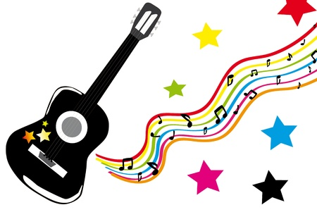 Playing black guitar with many color stars. Illustration