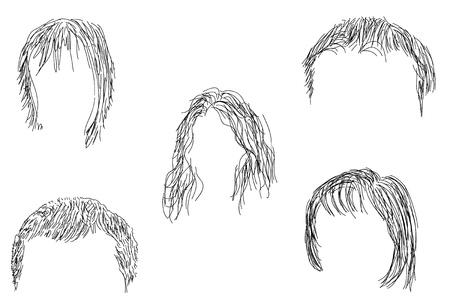 Painted set of black wigs.