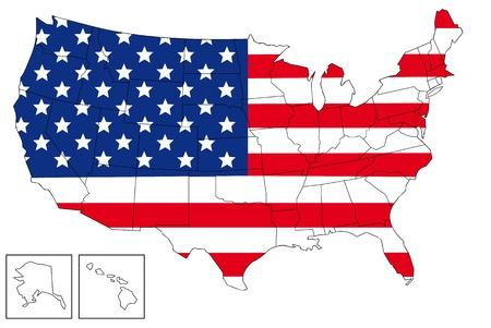 continente americano: Mapa de Estados Unidos con la bandera de Estados Unidos como fondo.