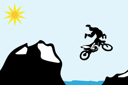 extremesport: Motocross bike jump over the mountain.