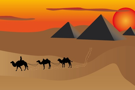 Illustration of pyramids and camels at sunset in Egypt.