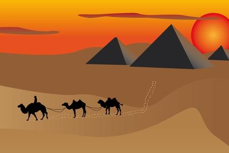 Ilustración de las pirámides y camellos al atardecer en Egipto. Ilustración de vector