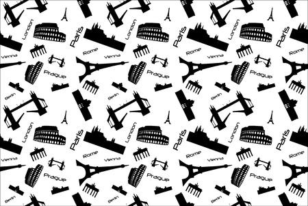 Seamless background pattern with landmarks. Illustration