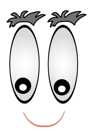 Detail cartoon face with big eyes. Vector