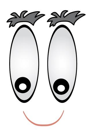 Detail Cartoon Gesicht mit gro�en Augen an.
