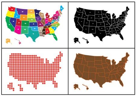 モザイクで米国のいくつかのマップ。米国の地図は茶色、黒、赤と他の多くの色。