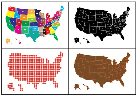 Several maps of USA in mosaic. Maps of USA has brown, black, red and many others color. Illustration