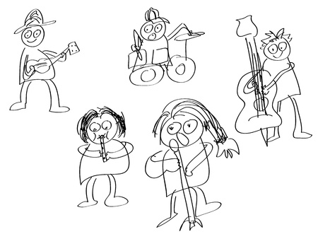 fife: Hand draw members of rock band. Illustration