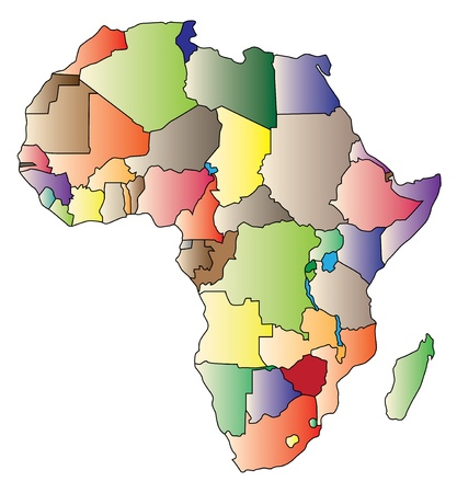 Detail color map of African continent with borders. Each state is colored to the various color.  Illustration