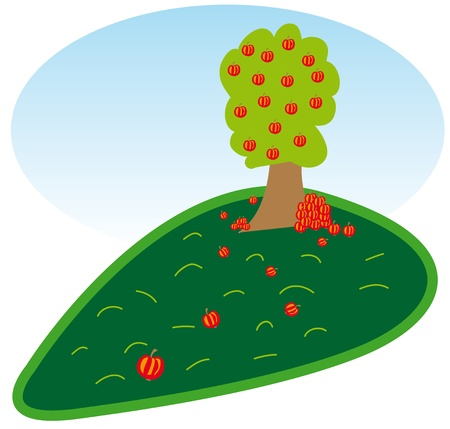 Graphic of apple tree on the meadow. Vector
