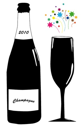 Vector illustration of bottle of champagne and glass at New Year�s day. Vector
