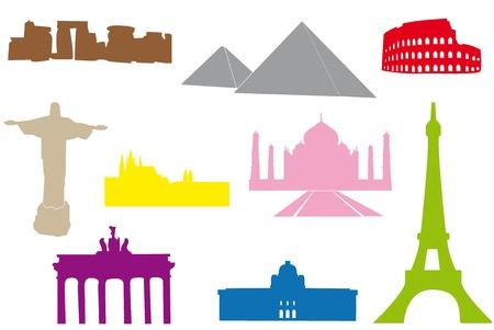 メインの世界記念碑のセットです。  イラスト・ベクター素材