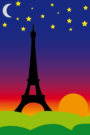 Eiffel tower at beautiful sunset. Vector