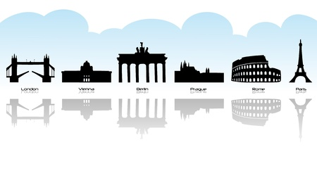 Black silhouette of main european landmark with reflection.