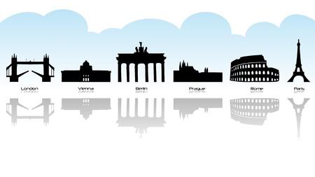 Black silhouette of main european landmark with reflection. Vettoriali