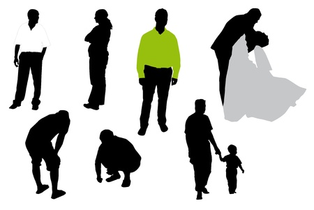 Vector illustration of silhouettes of people.