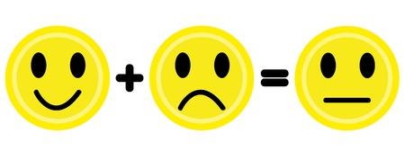 Gelb L�cheln und Stirn runzeln Emoticons.