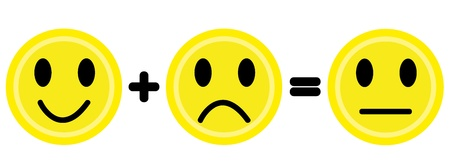 Yellow smile and frown emoticons. Vector