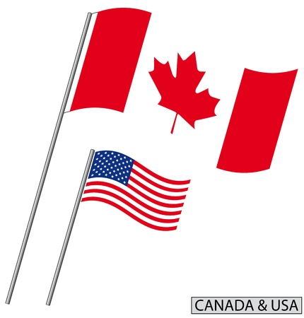 Flag of Canada and USA. Vector