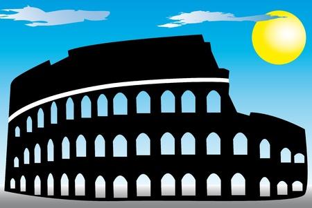 イタリア ローマのコロシアムのイラスト。  イラスト・ベクター素材
