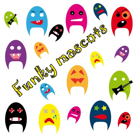 Funky mascots on the white background. Stock Vector - 9380918