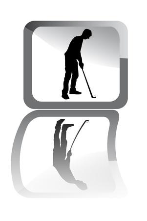 reflexe: Illustration du golfeur noir avec reflex.