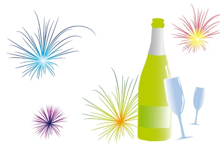 Green bottle with glasses and fireworks. Vector