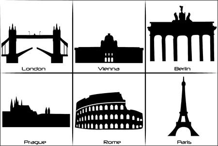 Belangrijkste bezienswaardigheden en monumenten van Europa Vector Illustratie