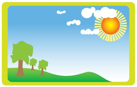 Vector illustration of summer field with bright sun. Stock Vector - 9380911