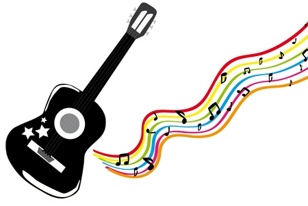 strains: Playing black guitar with color waves  Illustration