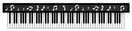 Ilustración vectorial de piano negro con notas. Ilustración de vector