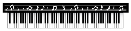 Vector illustration of black piano with notes. Vector