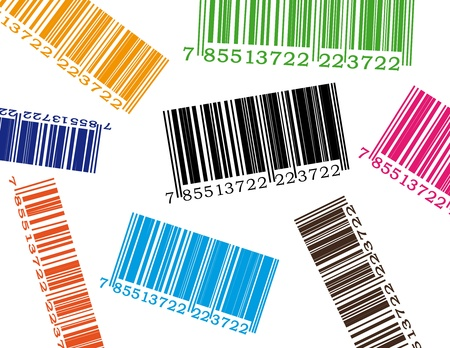 Detail illustration of barcode in many colors. Vector