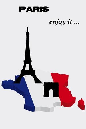 パリの主要観光名所とフランスの地図  イラスト・ベクター素材