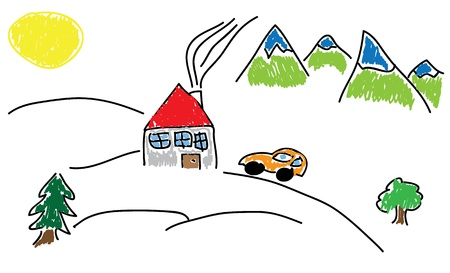 Hand draw house with red roof in the middle of the mountains and with car in front of the house. Vector