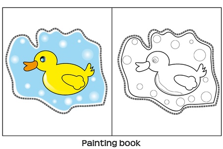 llusration of paitig book with yellow duck. Vector