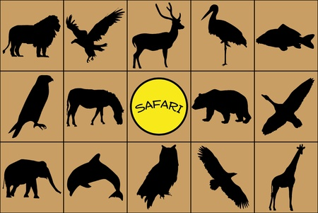 Silhouettes of wild animals with symbol. Vector