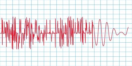 sismogr�fo: Ilustraci�n vectorial de curva de terremoto.