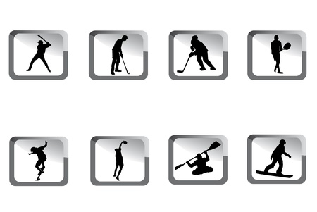 Small sport icons in grey color. Vector