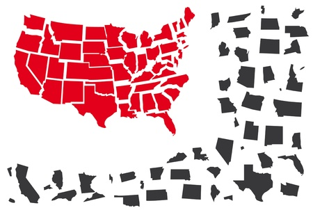 Puzzle from map USA in red and grey color. Vector