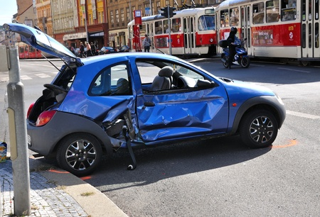 PRAGUE, CZECH REPUBLIC - SEPTEMBER 09: Damaged car after accident with tram on September 09, 2011 in Prague, Czech Republic