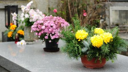 Funeral Blumen auf dem Grab am All Souls Urlaub platziert. Lizenzfreie Bilder