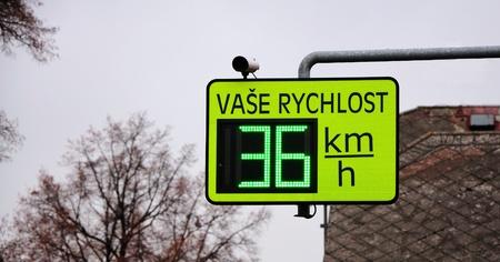 Closeup image of light speed limit radar. Standard-Bild
