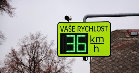 Closeup image of light speed limit radar. Archivio Fotografico