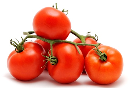 Bunch of fresh red tomatoes, placed on the white background. photo